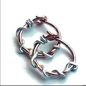 Mixed metal wire wrapped hoop earrings